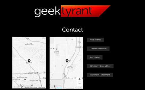 Screenshot of Contact Page geektyrant.com - Contact — GeekTyrant - captured Feb. 14, 2019