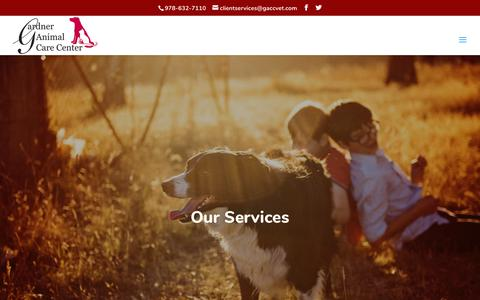 Screenshot of Services Page gardneranimalcarecenter.com - Services - Gardner Animal Care Center - Gardner, MA Veterinarian - captured July 16, 2018