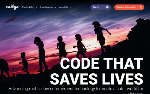 Screenshot of Home Page callyo.com - Callyo   Mobile Technology for Law Enforcement - captured Feb. 21, 2020