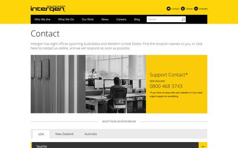 Screenshot of Contact Page intergen.co.nz - Contact | Intergen - captured Sept. 30, 2014