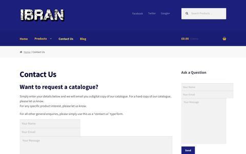 Screenshot of Contact Page ibran.co.uk - Request a Catalogue - Contact Us | Ibran - captured Nov. 18, 2016