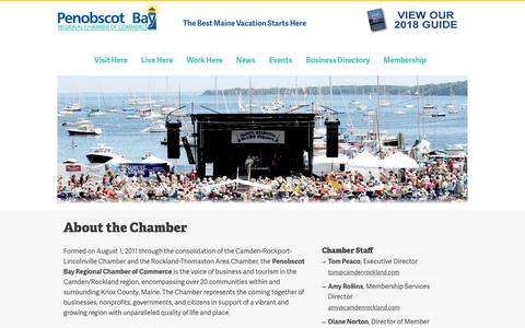 Screenshot of About Page camdenrockland.com - About the Chamber | Penobscot Bay Region Chamber of Commerce - captured July 6, 2018