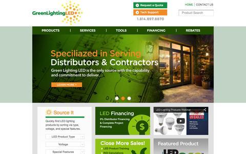 Screenshot of Home Page Case Studies Page greenlightingled.com - Green Lighting LED - captured Sept. 30, 2014
