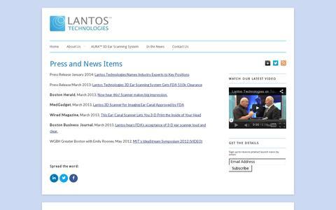 Screenshot of Press Page lantostechnologies.com - Press and News Items - Lantos Technologies - captured July 19, 2014