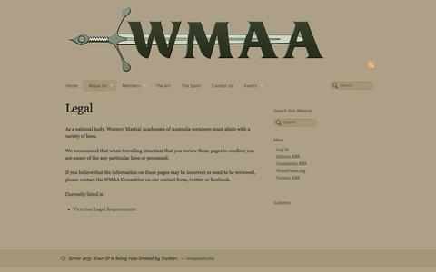 Screenshot of Terms Page swordplay.org.au - Legal - Western Martial Academies of Australia - captured Oct. 26, 2014