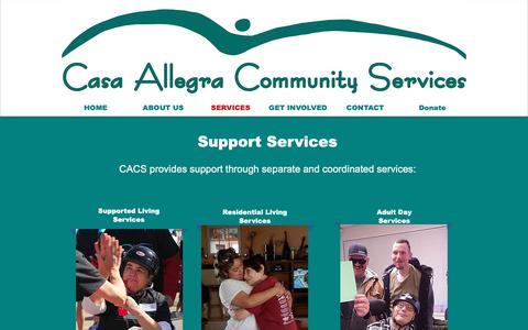 Screenshot of Services Page casaallegra.org - Casa Allegra Community Services | SERVICES - captured Sept. 27, 2018