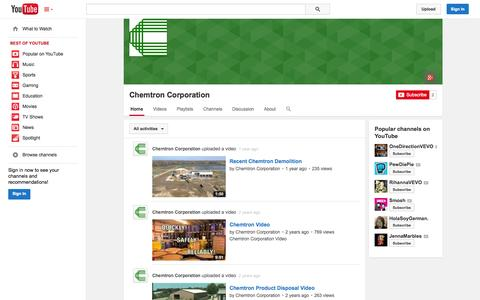 Screenshot of YouTube Page youtube.com - Chemtron Corporation  - YouTube - captured Oct. 22, 2014