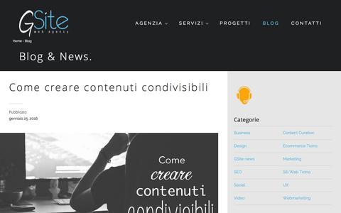 Screenshot of Blog gsite.ch - GSite Blog - Attualità e notizie sul mondo web - captured Feb. 2, 2016