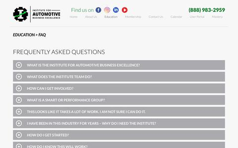 Screenshot of FAQ Page iforabe.com - FAQ | Institute for Automotive Business Excellence - captured Oct. 12, 2018