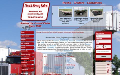 Screenshot of Site Map Page chuckhenry.com - Chuck Henry | Trailers, Trucks & Container Sales | Mini Storage, Mobile Storage & Rentals | Garden City, Solomon & Kansas City, KS Dealerships - captured Sept. 28, 2018