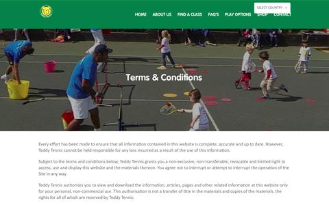 Screenshot of Terms Page teddytennis.com - Terms & Conditions | Teddy Tennis - Children's Tennis Lessons - captured June 8, 2018