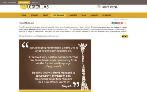 Screenshot of Testimonials Page giraffecvs.co.uk - CV Writer Testimonials | CV Writing Recommendations | Giraffe CVs - captured Oct. 2, 2014