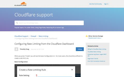 Screenshot of Support Page cloudflare.com - Configuring Rate Limiting from the Cloudflare Dashboard – Cloudflare Support - captured Oct. 11, 2017