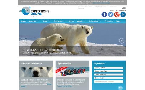 Screenshot of Home Page expeditionsonline.com - Expeditions Online | Antarctica and Arctic cruises, polar expedition travel - captured Sept. 30, 2014