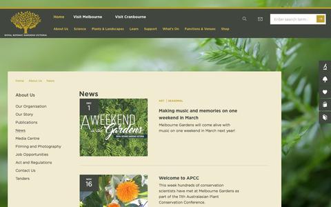 Screenshot of Press Page rbg.vic.gov.au - News | About Us | Royal Botanic Gardens Victoria - captured Dec. 3, 2016