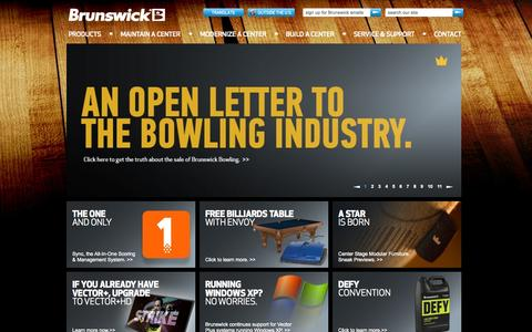 Screenshot of Products Page brunswickbowling.com - Bowling Alley Equipment | Bowling Products |Brunswick - captured Sept. 22, 2014