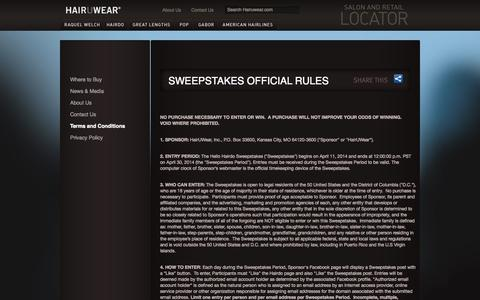 Screenshot of Terms Page hairuwear.com - SWEEPSTAKES OFFICIAL RULES | Hair U Wear - captured Oct. 30, 2014