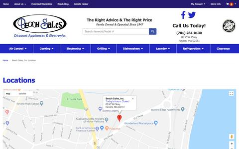 Screenshot of Contact Page Locations Page beachsalesinc.co - Beach Sales - Discount Appliances & Electronics, Boston, MA - captured July 8, 2018