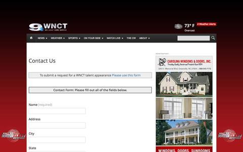 Screenshot of Contact Page wnct.com - Contact Us   WNCT - captured Sept. 22, 2016