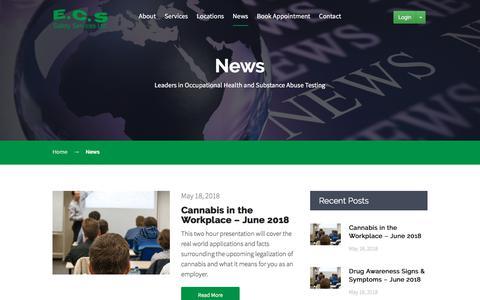 Screenshot of Press Page ecssafety.com - News - ECS Safety Service - captured Sept. 25, 2018