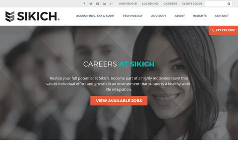 Screenshot of Jobs Page sikich.com - Careers - Sikich LLP - captured Oct. 7, 2017
