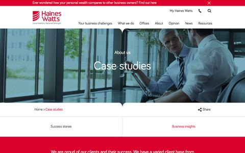 Screenshot of Case Studies Page hwca.com - Case studies Archive - Haines Watts - captured Oct. 19, 2016
