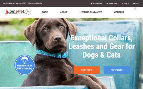 Screenshot of Home Page lupinepet.com - Lupine Pet - Dog Collars, Leashes & Pet Gear - 100% GUARANTEED - captured Sept. 22, 2018