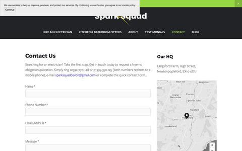 Screenshot of Contact Page sparksquad.co.uk - Contact Us | Spark Squad — Spark Squad - captured Oct. 23, 2017