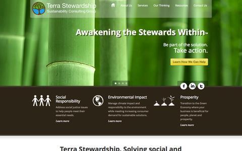 Screenshot of Home Page terra-stewardship.com - Terra Stewardship  Home » Terra Stewardship - captured Oct. 9, 2014