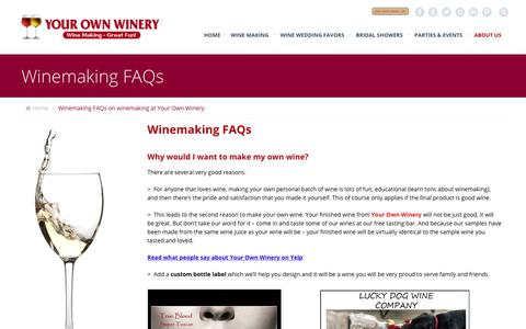 Screenshot of FAQ Page yourownwinery.com - Winemaking FAQs on winemaking at Your Own Winery.Your Own Winery - captured Nov. 10, 2018