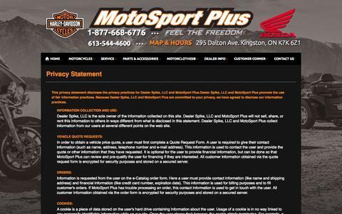 Screenshot of Privacy Page motosportplus.com - Privacy | MotoSport Plus | Kingston Ontario - captured Oct. 9, 2014