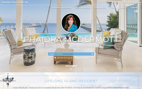 Screenshot of Home Page sanibelrealestate.net - Phaidra McDermott - Kingfisher   Captiva, Sanibel Island Real Estate - captured Sept. 28, 2018