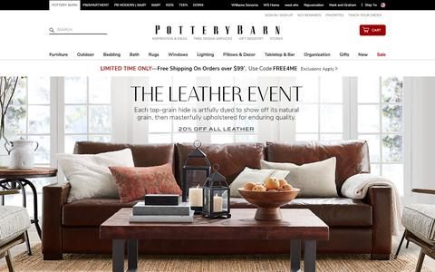 Screenshot of Home Page potterybarn.com - Home Furniture, Home Decor & Outdoor Furniture | Pottery Barn - captured Aug. 15, 2018