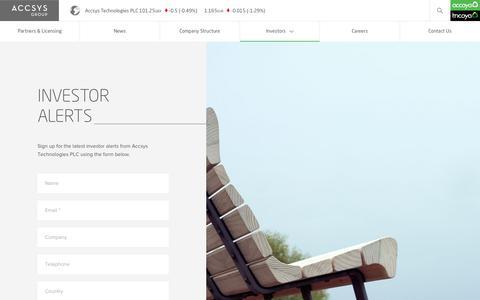 Screenshot of Signup Page accsysplc.com - Accsys - captured Nov. 12, 2018