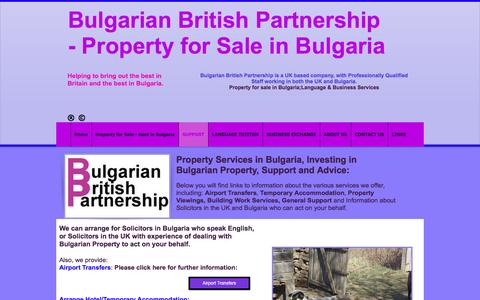 Screenshot of Support Page bulgarianbritishpartnership.co.uk - Property Services support - captured July 30, 2016
