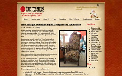 Screenshot of Blog truetreasuresinc.com - True Treasures Blog - captured Oct. 9, 2014