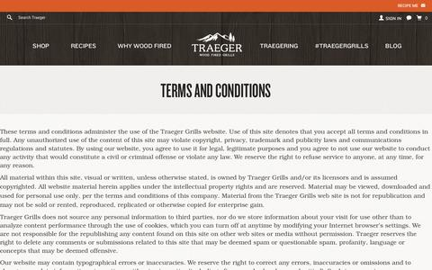 Screenshot of Terms Page traegergrills.com - Terms and Conditions - captured Jan. 28, 2016