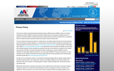 Screenshot of Privacy Page mbda.gov - Privacy Policy | MBDA Web Portal - captured Oct. 7, 2014
