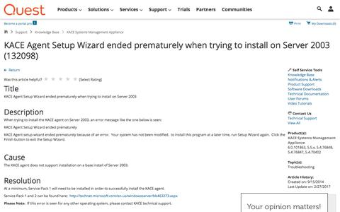 Screenshot of Support Page quest.com - KACE Agent Setup Wizard ended prematurely when trying to install on Server 2003 (132098) - captured April 19, 2018