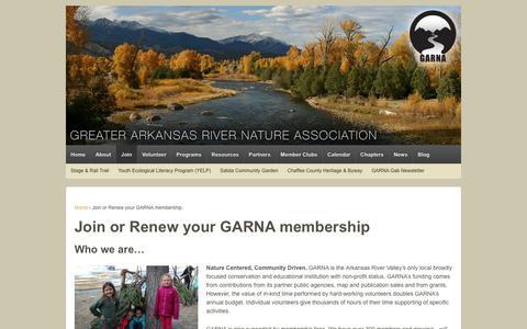 Screenshot of Signup Page garna.org - Join or Renew your GARNA membership - Greater Arkansas River Nature Association - captured Oct. 25, 2018