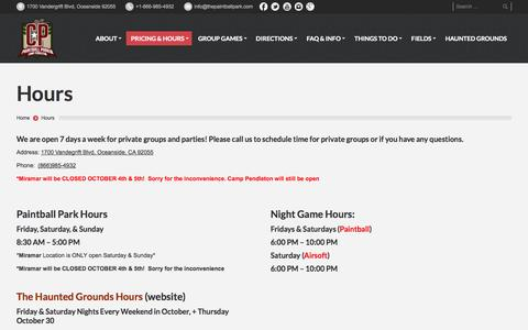 Screenshot of Hours Page thepaintballpark.com - The Paintball Park at Camp Pendleton | Hours - The Paintball Park at Camp Pendleton - captured Oct. 3, 2014