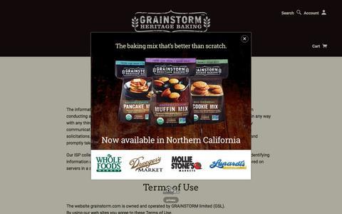 Screenshot of Terms Page grainstorm.com - Legal   GRAINSTORM - captured Nov. 12, 2016