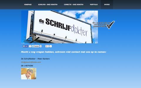 Screenshot of Contact Page tekstschrijver-blogger.nl - Hebt u een vraag? Laat het ons weten! - captured Oct. 6, 2014