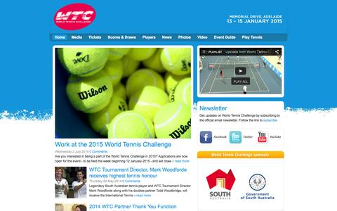 Screenshot of Home Page worldtennischallenge.com - World Tennis Challenge - 13–15 January 2015 Memorial Drive, Adelaide, Adelaide Australia - It's On For Young & Old - captured Oct. 1, 2014