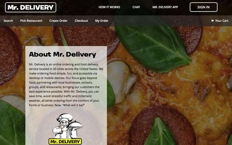 Screenshot of About Page mrdelivery.com - Mr. Delivery - About Us - captured Sept. 2, 2016