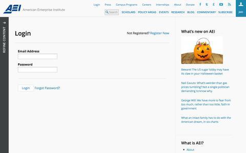 Screenshot of Login Page aei.org - Login » AEI - captured Oct. 31, 2014