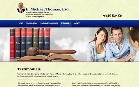 Screenshot of Testimonials Page emtesq.com - Environmental Lawyer | Testimonials - Acton, MA - captured Sept. 28, 2016