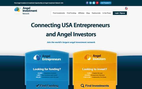 Screenshot of Home Page angelinvestmentnetwork.us - Angel Investment Network USA – Angel Investment, Local & International Business Entrepreneurs - captured Oct. 2, 2014