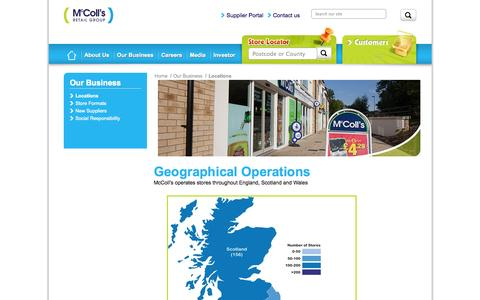 Screenshot of Locations Page mccolls.co.uk - McColl's | Geographical Operations - captured Oct. 27, 2014