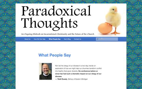 Screenshot of Testimonials Page practicingparadoxy.com - What People Say | Paradoxical Thoughts - captured Dec. 1, 2016